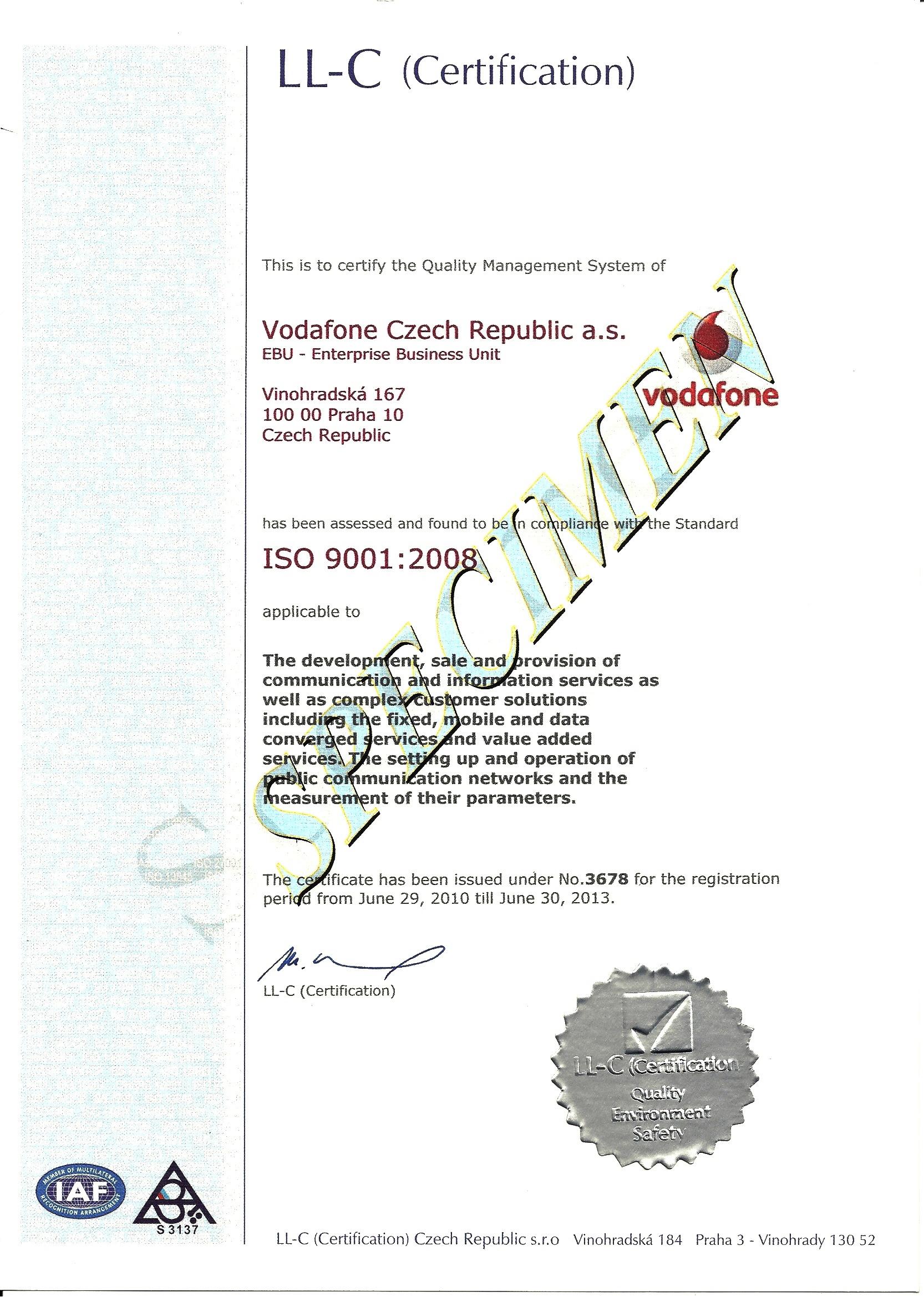 Образец сертификата ISO 9001